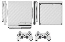 White Carbon Fiber Skin Sticker for PS3 PlayStation 3 Slim & 2 controller skins