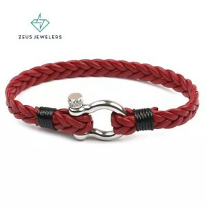 Multilayer Men's Braided Leather Bracelet 8'' Handwoven Stainless Steel Clasp