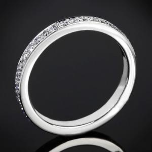 1 Ct Round Cut Moissanite Pave Set Full Eternity Ring in 18K White Gold