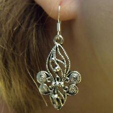 Fleur de Lis Swirl Dangle Earrings on 14K White Gold Filled French Hooks
