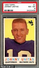 "1959 Topps Football #1 Johnny Unitas Colts HOF PSA 8 NM-MT "" Pack Fresh """