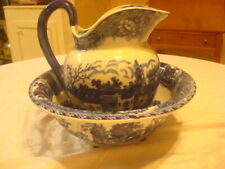 Blue and white Ironstone pitcher and wash basin