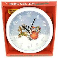 Silent Santa Reindeer Christmas Quartz Wall Clock