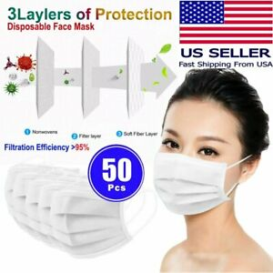 [50 PCS] Disposable Face Mask Non Medical Surgical 3-Ply Mouth Nose Cover White
