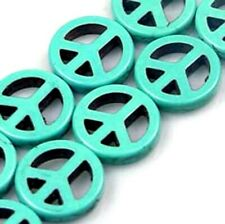 15mm Blue Turquoise Peace Sign Filigree Beads (14 pcs)