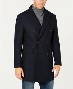 $895 Michael Kors Men Blue Peacoat Overcoat Wool Winter Jacket Coat Size 42r