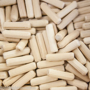 8mm x 30mm HARDWOOD WOODEN DOWELS CHAMFERED FLUTED PIN WOOD BEECH DOWEL GROOVED