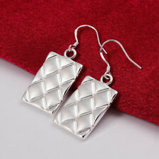 Womens 925 Sterling Silver Dog Tag 39mm Long Drop Dangle Fashion Earrings #E197