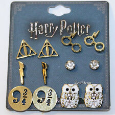 Harry Potter Deathly Hallows 6 Pair Post Insertion Earrings Owl 9 3/4 Glasses