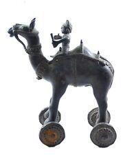Brass Camel Rider Vintage Statue Wheel Toy Collectible Decorative Figure