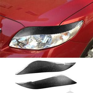 Real Carbon Fiber Front Headlight Eyelid Eyebrow Trim For Toyota Corolla 2008-11