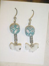 Vintage Turquoise Black and White Glass  Beads  Dangle Earrings Fish Hooks