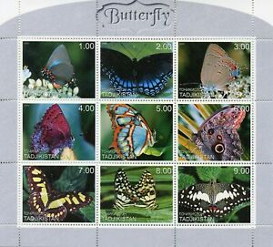 Tajikistan Butterflies Stamps 1999 MNH Butterfly Insects 9v M/S