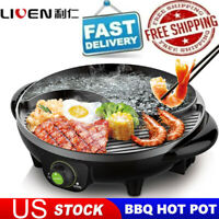 LIVEN Electric Shabu Shabu Hot Pot with BBQ Multifunctional Electric Skillet