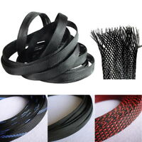 8/30M Black PET Expandable Wire Cable Sleeving Sheathing Braided Loom Tubing DIY