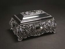 Silver Color Jewellery Trinket Box Lined With Dark Velveteen , Flower Design #9
