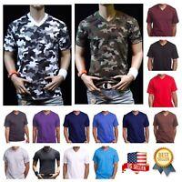Men's HEAVY WEIGHT Plain V-NECK T-SHIRT Fashion Big & Comfy Casual GYM Tee S-5X
