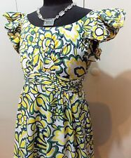 Immaculate Size 8 Iroo, Milan, Yellow & White Lined Cotton Dress- 41cm Bust