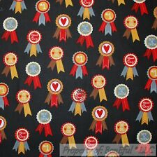 BonEful FABRIC Cotton Quilt Gray Red Yellow Gold Ribbon Animal Dog Horse L SCRAP