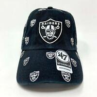 Oakland Raiders 47 Brand Clean Up Adjustable Strapback Hat Black 6 Panel Cap