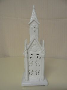 Hallmark Church Ceramic Tealight Holder White Use Only Battery Powered Tealights