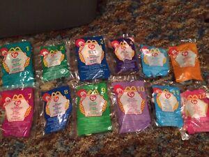 NIP McDonald's 1999 Ty Teenie Beanie Babies COMPLETE SET OF 12, New Sealed! NICE