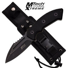 """NEW Mtech Extreme 10"""" Tactical Fixed Blade Knife Flat Blade Edge Black G10"""