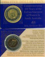 Australian Mint 1994 $5 Bi-metal Coin Federal Centenary Womens Vote + Card issue