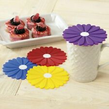 Silicone Daisy Coaster Set of 4 Decorative Mug Coffee Cup Drinks Covers Colorful