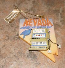 NEVADA Sagebrush State VTG CERAMIC CHRISTMAS ORNAMENT Roman 2001 Slot Machine