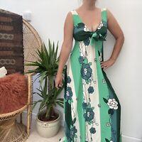 Erose Vintage 70's Maxi Dress Floaty Green Floral Stripe Pattern Sz 8 10