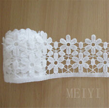 1y Vintage Bridal Embroidered Lace Edge Trim Ribbon Wedding Applique DIY Fabric