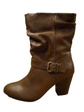 Womens Boots Size 9 Wide Calf Block Heeled Brown High Heel Zip Ladies New RRP£45