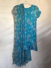 Indian Sari Dress Top Dupatta Scarf Turquoise Costume Aladdin Jasmine Silk S M