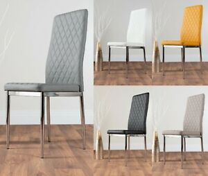 4 / 6 / 8 MILAN Chrome Hatched Grey White Faux Leather Metal Foam Dining Chairs