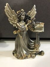Vintage? Italy Gold Silver Angel Figure with harp Holiday Table Decor Christmas