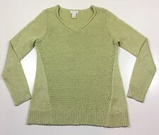 CHICO'S - Key Lime GREEN Metallic Sparkle Long Sleeved Sweater - Size 0