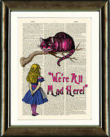 ANTIQUE BOOK PAGE DIGITAL ART PRINT Alice in Wonderland Cheshire Cat Mad Here