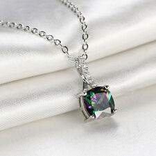 Chain Necklace Pendant Colorful Zircon Gifts Crystal for Women Jewelry