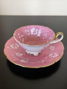 Cauldon Brown Westhead Moor Cup & Saucer Gold Gilt Pink