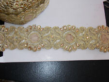 1m gold crystal velvet indian arabic ribbon braid trim lace bridal trimming