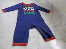 Baby Boy 3-6 Months Old Navy NEW MAN OF THE HOUSE Blue LS Romper Outfit