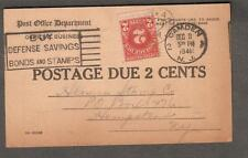 1941 USPOD penalty pc postage due 2 cents camden to Hermes Stamp Co Hempstead NY