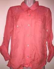 """ABOUT A GIRL Juniors' Western Lace Top """"LIGHT CORAL"""" Size M NEW Tags"""