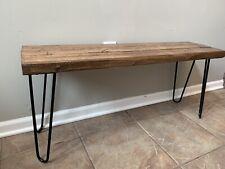 Handmade Indoor Rustic Wooden Bench W/Hairpin Legs Mid Century Inspired