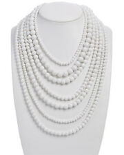 NWT $110 RJ Graziano Multi Strand White Resin Statement Necklace Fashion Jewelry