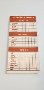 Vintage Clue Board Game Replacement Piece: Double-Sided Notepad (22 Sheets)