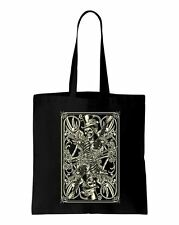 Skeleton Playing Card Cotton Shoulder Bag - Goth Emo Clothing Fashion Tattoo