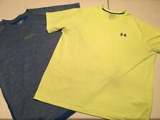 Under Armour Athletic T Shirt Lot Of 2 Mens 2Xl Blue Neon Short Sleeve Heat Gear