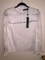 NEW W/ TAGS BKE Boutique Women's White Floral Top Buckle Size XSmall blouse